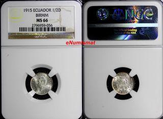 Ecuador Silver 1915 1/2 Decimo,  Medio Ngc Ms66 Birmm Toned Top Km 55.  2 photo