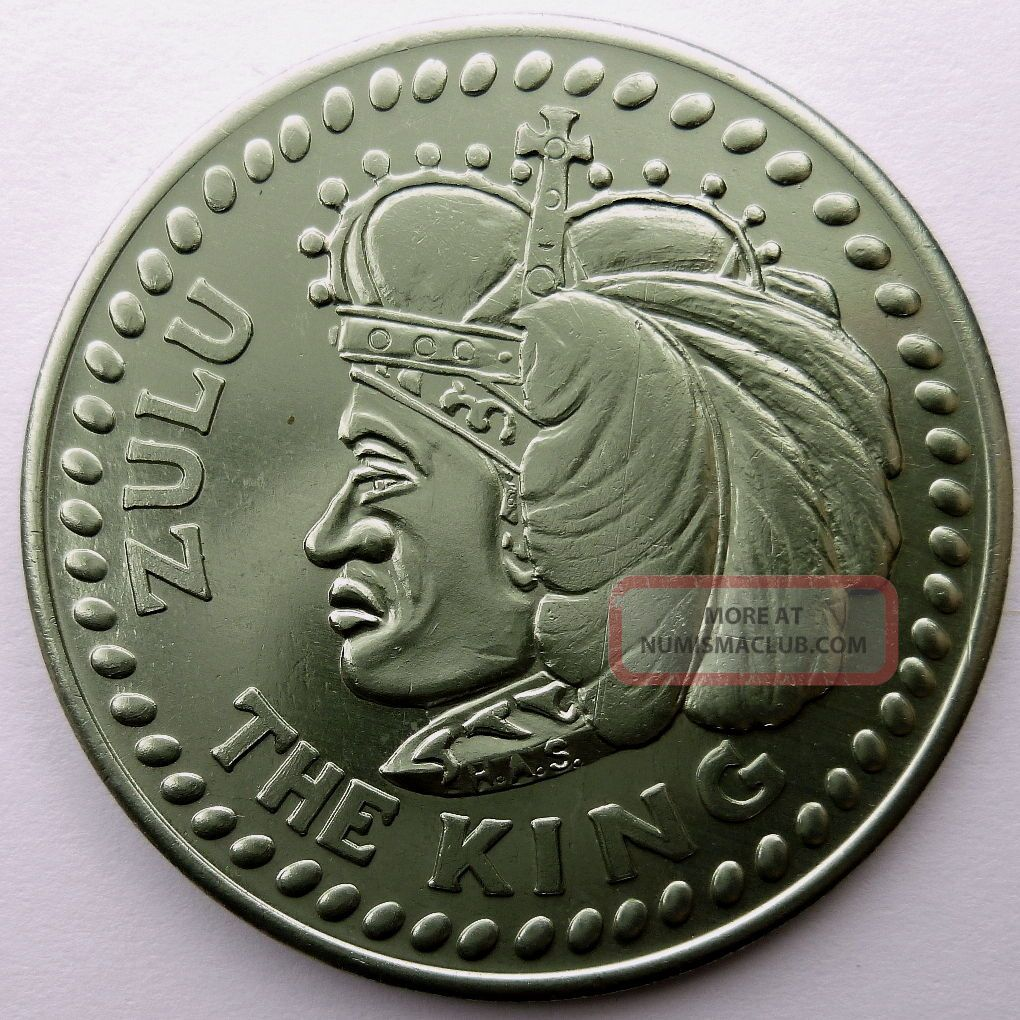 1967 Zulu Warrior Token - The King / Hausa - Green Aluminum (has) Doubloon Exonumia photo