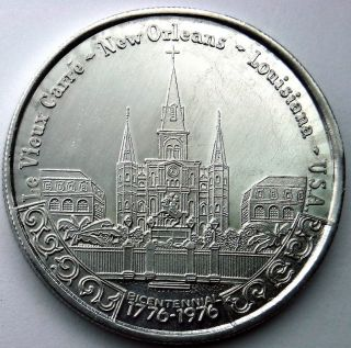 Vieux Carre / Jackson Square Bicentennial Token - 1976 Iris Aluminum Doubloon photo