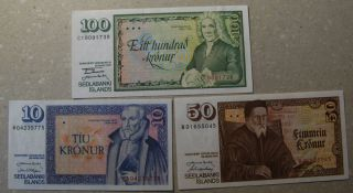 Iceland,  10,  50,  100 Kr 1961 Uncirculated Banknote.  Sieg 54,  55,  56pick 48,  49,  50. photo