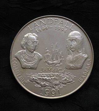 Jamaica 25 Dollars Silver Matte,  1991,  Rare 650 Minted photo