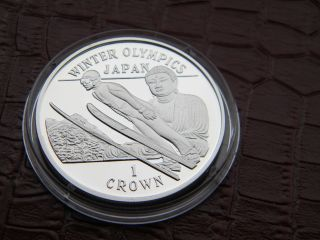 Gibraltar 1 Crown 1998 Silver Proof Coin Japan Standing Buddha photo