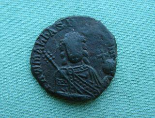 Byzantine Emperor Romanus I.  Ae Follis.  913 - 959 Ad.  Constantinople. photo