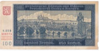 Bohemia & Moravia 100 Korun 20 August 1940 F Not Perforated P.  6a Code D011 photo