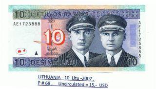 Lithuania - 10 Litu 2007 P 68 Unc photo