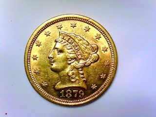 1879 Gold $2.  50 Quarter Eagle Coronet Head Ef - - photo