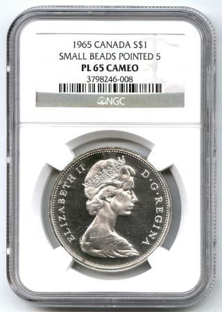 1965 Ngc Pl 65 Cameo Canada Silver $1 Dollar Small Beads Pointed 5 44710 photo