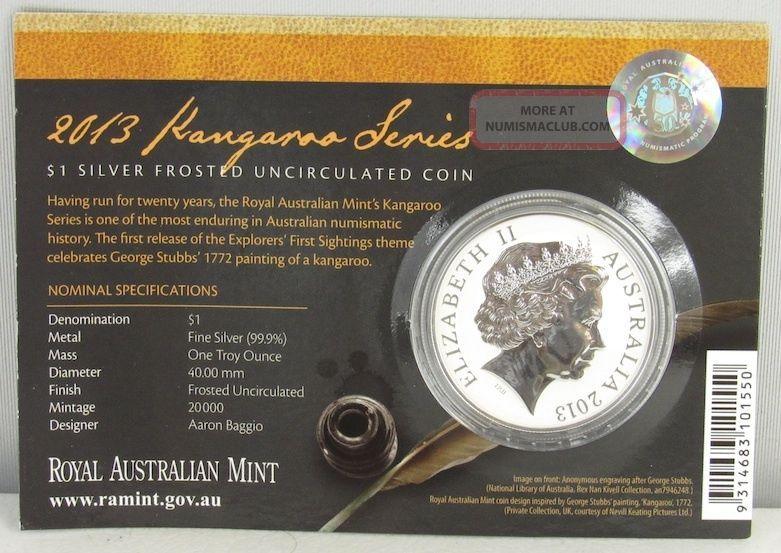 Australia 2013 Kangaroo 999 1 Silver Frosted Explorer