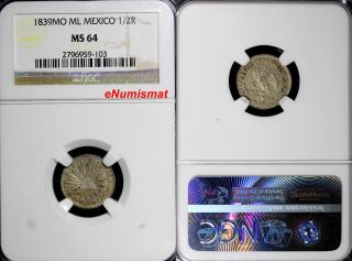 Mexico Silver 1839 Mo Ml 1/2 Real Ngc Ms64 Toning Km 370.  9 photo