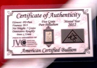 Acb Palladium 5grain Bullion Minted Bar 999 Pure Certificate Authenticity photo