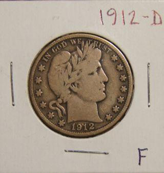 1912 - D Barber Half Dollar - - Fine photo