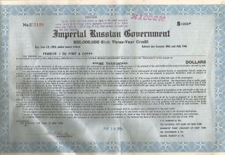 Imperial Russian Government_francis I Du Pont & Co_50 Million 6 1/2 _$1,  000 Bond photo