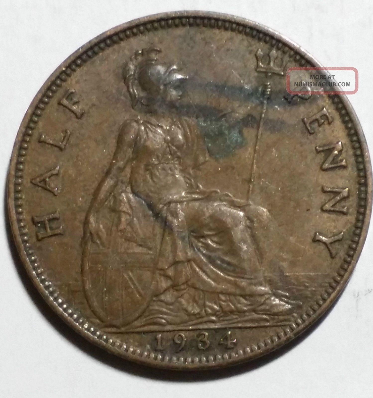 1934 half penny coin value