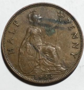 1934 Half Penny Great Britain/uk Coin photo