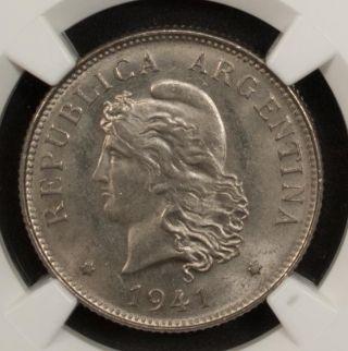 Argentina 50 Centavos 1941 Ngc Ms 65 Unc Nickel photo