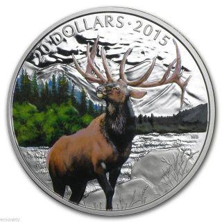 2015 Canada $20 The Majestic Elk Silver Coin Colour Box,  Gift photo