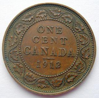 1912 Large Cent Ef - Au 2nd Year King George V Canada Penny photo
