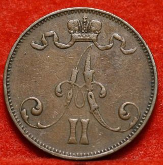 Circulated 1875 Finland 5 Pennia Y2 Foreign Coin S/h photo