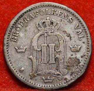 Circulated 1885 Sweden 25 Ore Silver Foreign Coin S/h photo