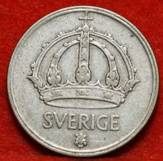 Circulated 1949 Sweden 50 Ore Silver Foreign Coin S/h photo