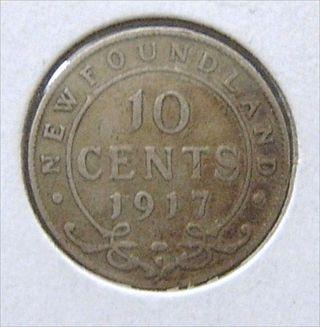 Rare Silver 1917 Newfoundland Dime 92.  5 Silver 10 Cents Coin George V photo
