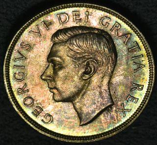 1950 Dollar ($1) Iccs Ms - 65 Amber & Green Toning photo