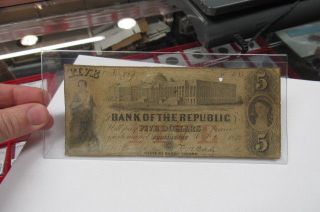 1855 $5 The Bank Of The Republic - Providence,  Rhode Island Note photo