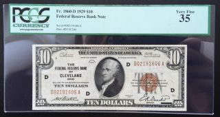 $10 Series 1929 National Currency/ Fed Res Bank Of Cleveland Pcgs 35 Very Fine photo