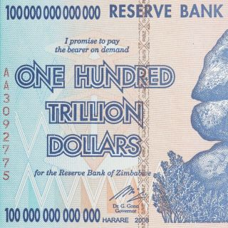 5 X 100 Trillion Dollar Zimbabwe Currency 2008 Aa Series Inflation Note Bills photo