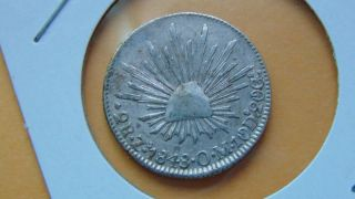 Mexico 2 Reales,  1848 Zacatecas Zs Om Mexican Silver Coin Radiant Cap Eagle photo
