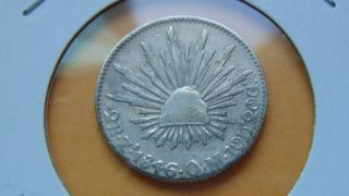Mexico 2 Reales,  1846 Zs Zacatecas Om Mexican Silver Cap And Ray Coin Radiant photo