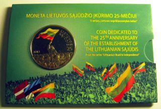 Lithuania 2013 Coin 25 Litai 25th Anniversary Lithuanian Sajudis Proof - Like photo
