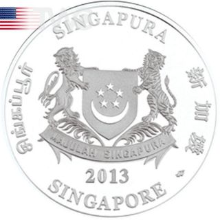 Singapore 2013 10$ Year Of The Snake Lunar 2 Oz Proof Silver Coin photo