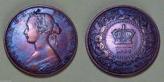 Canada 1864 Brunswick Victoria One Cent Coin Tall 6 Grade photo