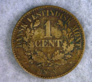Danish West Indies 1 Cent 1868 Denmark Coin (stock 0987) photo