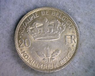 Belgium 20 Francs 1935 Au Silver (stock 1247) photo
