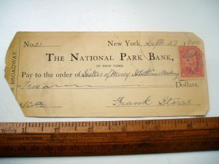 National Park Bank Cheque York 1900 photo