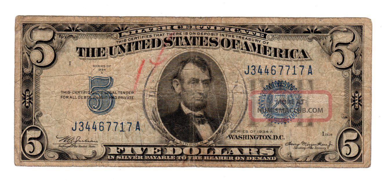 dollar certificate 1934 states united certificates