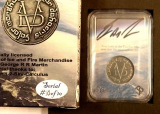 10,  Game Of Thrones Iron Faceless Man Coin.  Signed By Grrm Flown Into Space photo