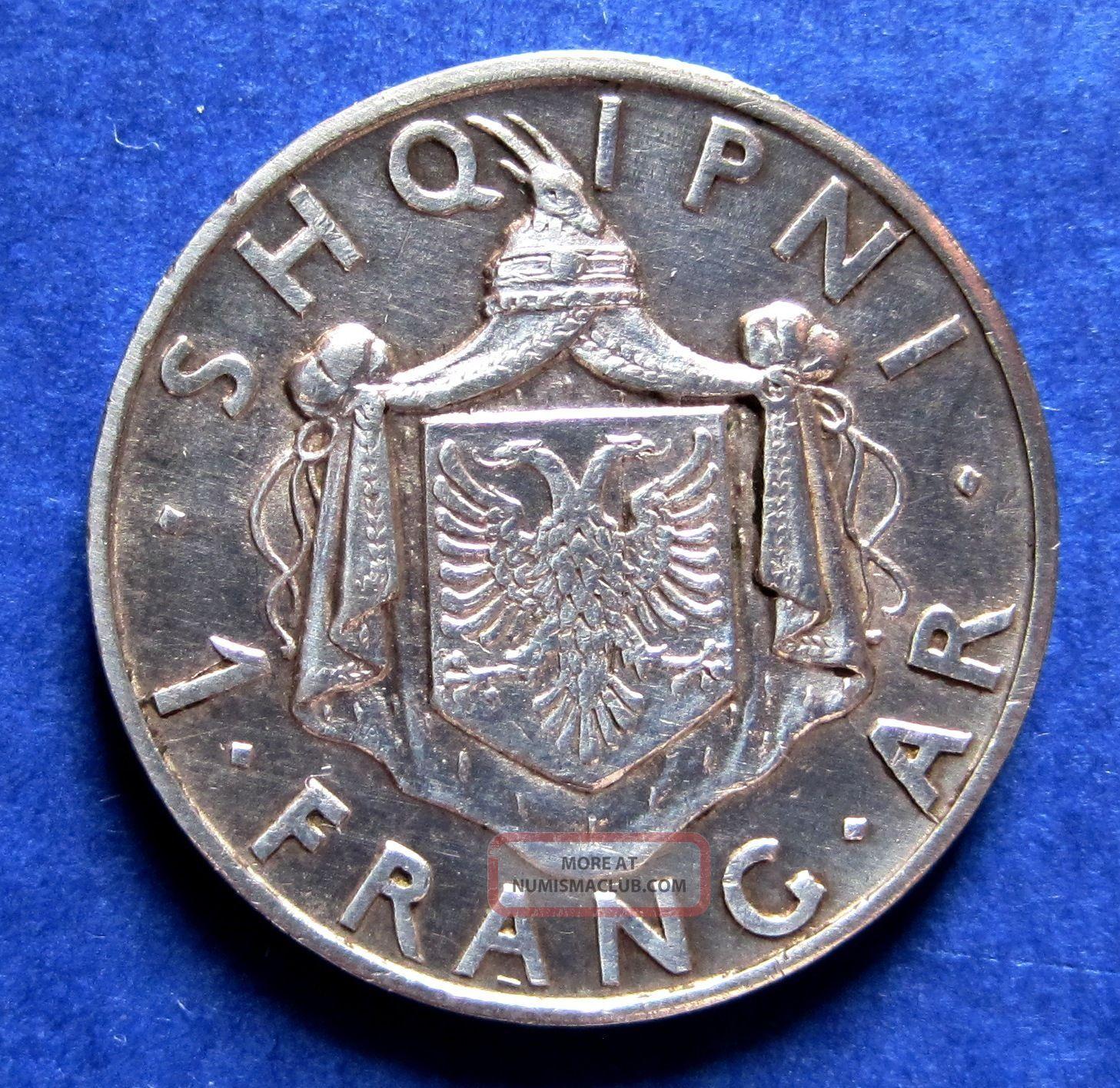 1937 Albania Coin 1 Frank Ar Silver 5 Gr Km 16 - Ahmed Bey Zogu - King Zog Europe photo