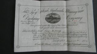 1882 Roy Stone Hydraulic Mining And Dredging Stock Certificate photo