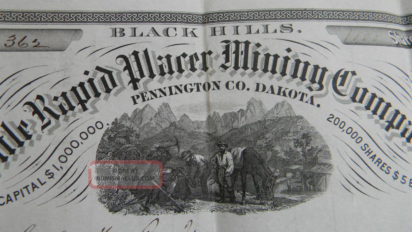 Antique Black Hills Dakota Mining Stock Certificate - Little Rapid Placer 1881 Stocks & Bonds, Scripophily photo