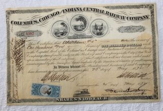 1872 Chicago & Indiana Railway Stock Certificate R112 Rev Stamp Front & Reverse photo