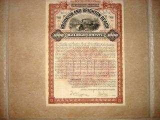 Stock Bond Certificate - Brooklyn & Brighton Beach Rr Co.  50 Yr.  Gold Bond 1896 photo