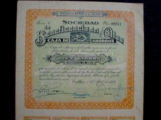 Caja De Ahorros Callao 10 Libras Peruanas De Oro 8 To Bearer 1926 Unc,  Coupons photo
