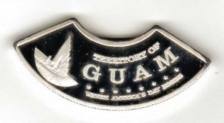 2014 Territory Of Guam $5 Guaham Silver Plated Crescent Shaped Coin - Rare photo
