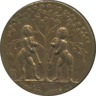 Gemini Zodiac Good Luck Token / Art Work / Lucky Days & Numbers photo