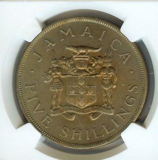 Jamaica 1966 5 Shillings - Commonwealth Games - Ngc Ms65 photo