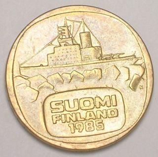 1985 Finland Finnish 5 Markkaa Icebreaker Ship Geese Coin Vf, photo