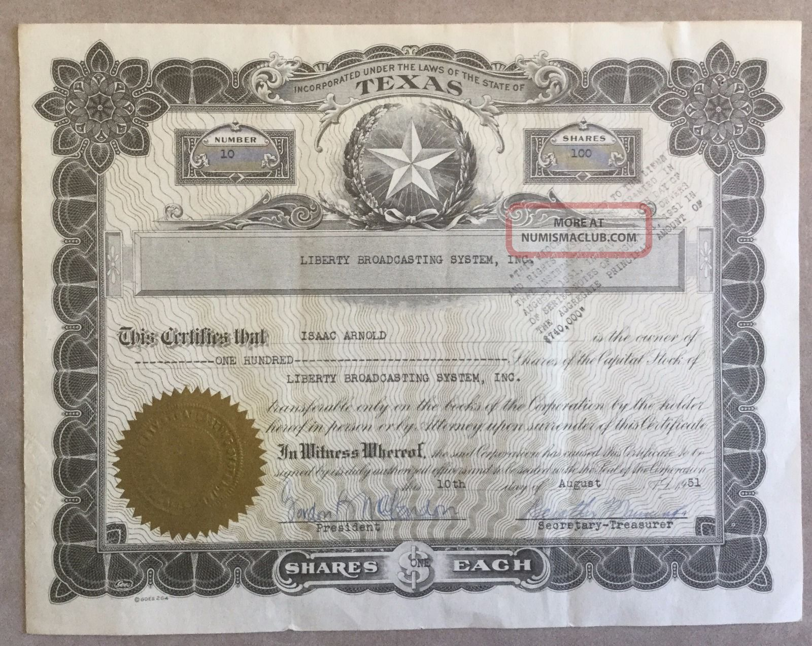 1951 Liberty Broadcasting System Stock Certificate Signed By Gordon Mclendon Stocks & Bonds, Scripophily photo